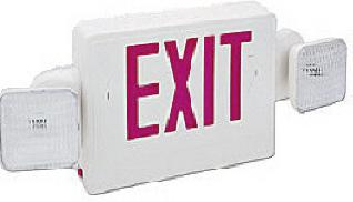 Combo Exit Sign / Emergency Light; with one emergency light on each side of exit sign
